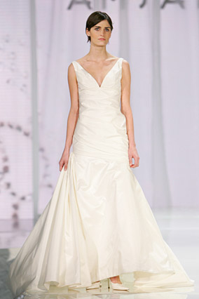 A V-neck wedding dress by Amsale