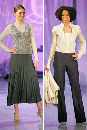 Gray skirt with cashmere T-shirt and ivory blouse with pin-striped slacks
