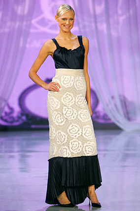 Black and ivory evening gown