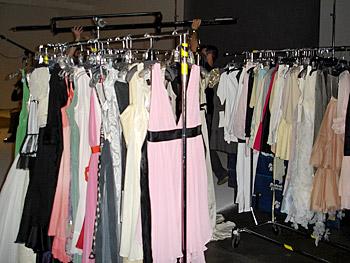 Racks of fashion shoot dresses