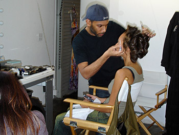 Vanessa Williams get her hair styled.