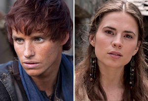 Hayley Atwell as Aliena and Eddie Raymayne as Jack on the set of The Pillars of the Earth