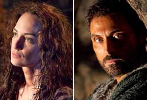 Natalia Woerner as Ellen and Rufus Sewell as Tom
