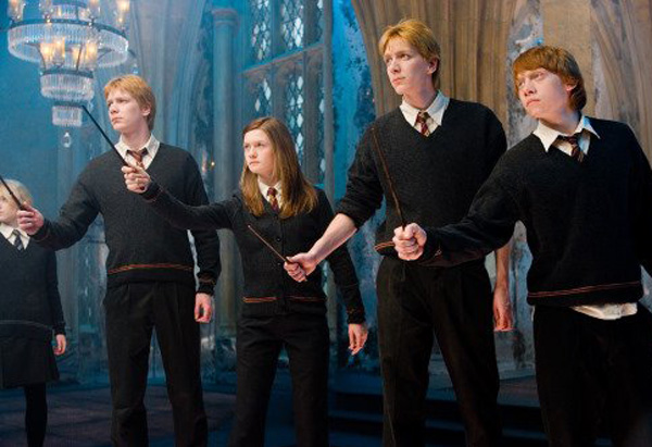Ginny, George, Fred and Ron Weasley
