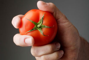 Holding a tomato