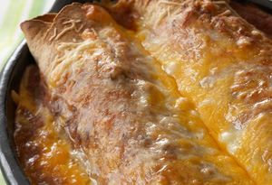 Cheesy Turkey Enchiladas with Tomatillo Salsa and Cilantro