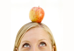 Apple on woman's head