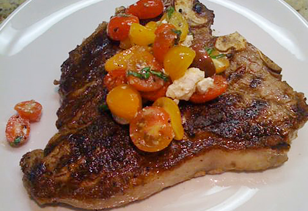 Cristina Ferrare's recipe for Grilled T-Bone Steak with Greek Tomato Salsa