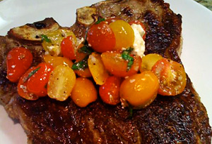 Cristina Ferrare's Grilled T-bone Steak with Greek Tomato Salsa