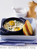 Baked Eggs with Fresh Herbs and Goat Cheese