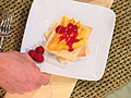 Champagne Mangos with Raspberry Coulis and Cardamom Shortbread