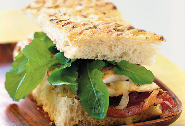 Chicken and Pancetta Panini with Fontina, Arugula and Provencale Mustard