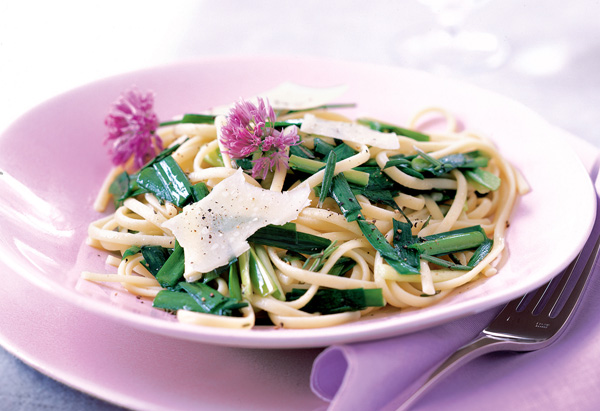 Linguine with Garlic Chive and Rosemary Oil