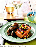 Salmon with Corn Relish and Sage Potatoes