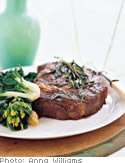 Grilled Steaks with Savory Herbs and Roasted Garlic