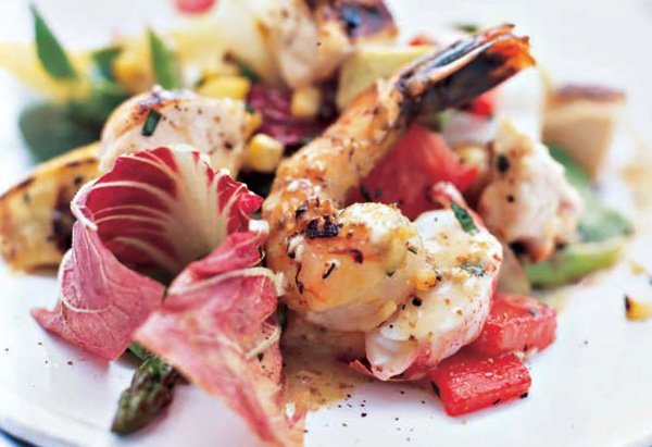 Grilled Vegetable Salad with Chicken, Shrimp and Lobster