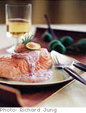 Cold Poached Salmon with Creamy Dill and Fig Sauce