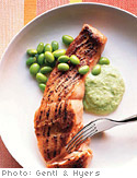 Miso-Seared Salmon with Edamame Sauce