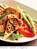 Yogurt and Citrus Turkey Breast with Grilled Tomato and Wax Bean Salad