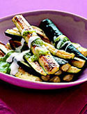 Three simple ingredients create a zucchini dish with two distinct sauces (rosemary yogurt and zucchini coulis). It's delicious either at room temperature or served warm alongside grilled chicken or st