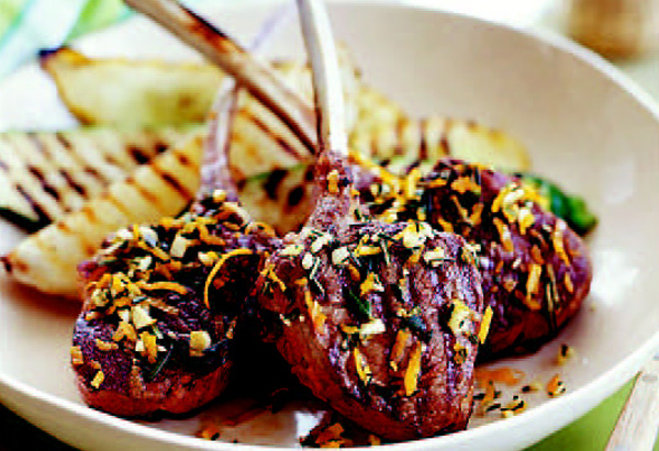 Grilled Lamb Chops with Orange-Rosemary Rub and Grilled Vegetables