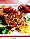 Malabar Crab Cakes with Panch Puran Chutney and Mango Slaw