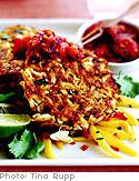 Malabar Crab Cakes with Panch Puran Chutney and Mango Slaw