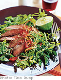 Grilled Skirt Steak Salad with Watercress, Chervil, Lime, Crispy Shallots and Chilies