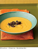 Spiced Butternut Squash and Apple Soup with Maple Pumpernickel Croutons