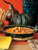 Carrot and Sweet Potato Soup with Croutons
