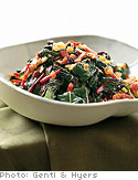 Red Swiss Chard with Onions and Currants