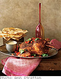 Cinnamon Curry Roasted Chicken with Tomato Yogurt Sauce