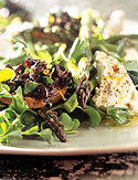 Salad of Roasted Asparagus and Goat Cheese with Black Olive Toasts