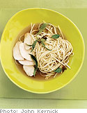 Chicken and Udon in Ginger, Thai Basil and Lime Broth