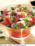Watermelon Feta, and Black Olive Salad