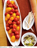Tequila-Bloody Mary Cherry Tomatoes with Margarita Dipping Salt