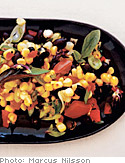 Sweet Corn Salad with Black Beans, Scallions and Tomatoes