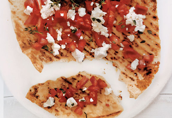 Grilled Pizza with Goat Cheese, Tomatoes and Thyme
