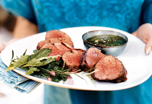 Grilled Tenderloin of Beef with Spicy Fresh Herb Vinaigrette