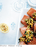 Roasted Salmon with Raw Corn and Green Onion Relish