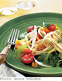 Raw Cherry Tomato, Arugula, and Pecorino Linguine