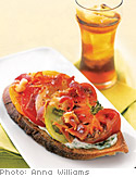 Open-Faced Tomato Sandwiches with Basil Mayonnaise and Bacon