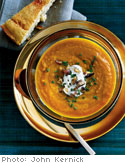 Pumpkin and Apple Soup with Chestnuts