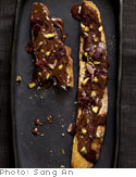 Chocolate Crostini with Pistachios and Dried Cherries