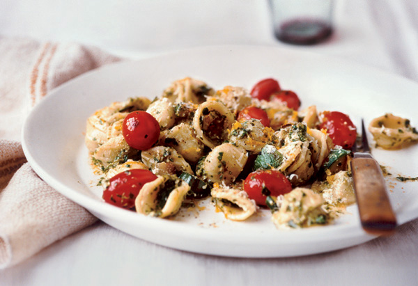 Orecchiette with Arugula and Walnut Pesto