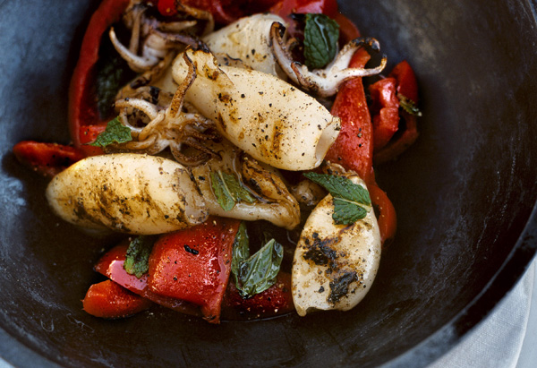 Grilled Calamari with Minted Red Pepper