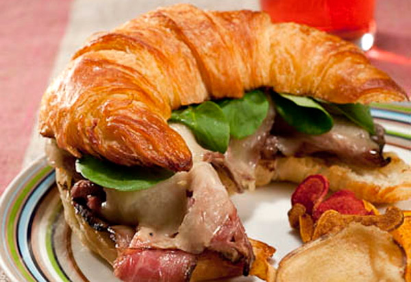 London Broil, Aged Cheddar and Watercress on Croissant with Horseradish Mayonnaise