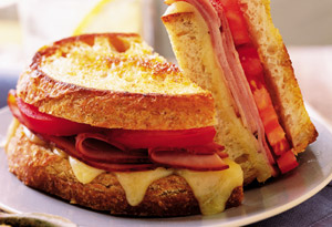 Grilled Cheese with Smoked Ham Sandwiches