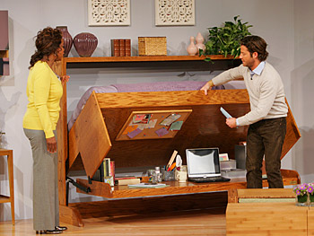 Nate shows Oprah how to use Off the Wall Beds's Hidden Bed.