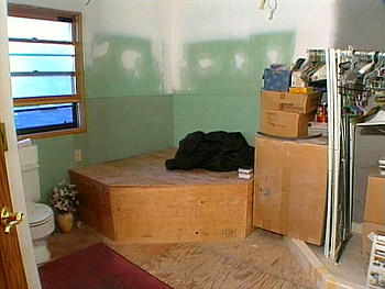 The green bathroom before Nate Berkus's makeover.